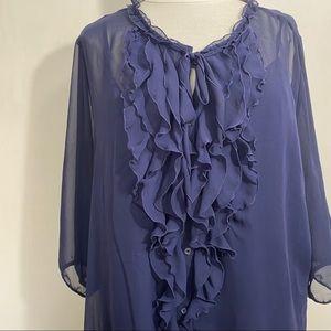 OLD NAVY sheer ruffle neck blouse w/ cami XXL